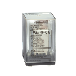 8501KUR12V24 - Plug in relay, Type KU, blade, 0.5 HP at 240 VAC, 10A resistive at 120 VAC, 8 blade, DPDT, 2 NO, 2 NC, 240 VAC coil
