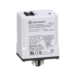 9050JCK60V20 - Timing Relay, Type JCK, plug In, on delay, programmable, 0.5 second to 999 hours, 10A, 240 VAC, 120 VAC/110 VDC
