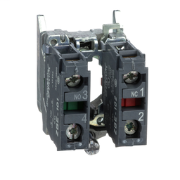 ZB4BZ105 - Harmony, 22mm Push Button, XB4B operators, contact block, with mounting collar, 1 NO and 1 NC, screw clamp terminal