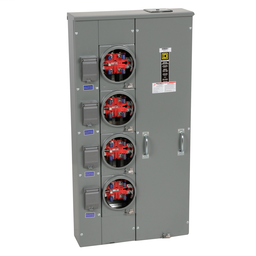 MPR44125 - MP Meter Pak, meter center, four ringless sockets, no bypass, 5th jaw, OH, UG, 400 A bus, 125 A, 240 VAC single phase 3W