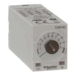 TDR782XDXA-110A - Time delay relay, Legacy, 4PDT, 5A, 110 VAC, 100 ms to 100 hours, 7 time scales, on-delay function, socket compatible