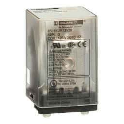 8501KUR13V20 - Plug in relay, Type KU, blade, 0.5 HP at 240 VAC, 10A resistive at 120 VAC, 11 blade, 3PDT, 3 NO, 3 NC, 120 VAC coil