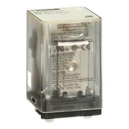 8501KUR13P14V20 - Plug in relay, Type KU, blade, 0.5 HP at 240 VAC, 10A resistive at 120 VAC, 11 blade, 3PDT, 3 NO, 3 NC, 120 VAC coil