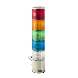 XVC1B5K - Monolithic tower light, red-orange-green-blue-clear, 100mm, base mounting, steady or flashing, without buzzer, IP54, 24 V DC