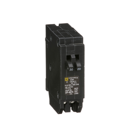 HOMT3020 - Tandem mini circuit breaker, Homeline, 1 x 1 pole at 30A, 1 x 1 pole at 20A, 120/240 VAC, 10 kA AIR, plug in mount