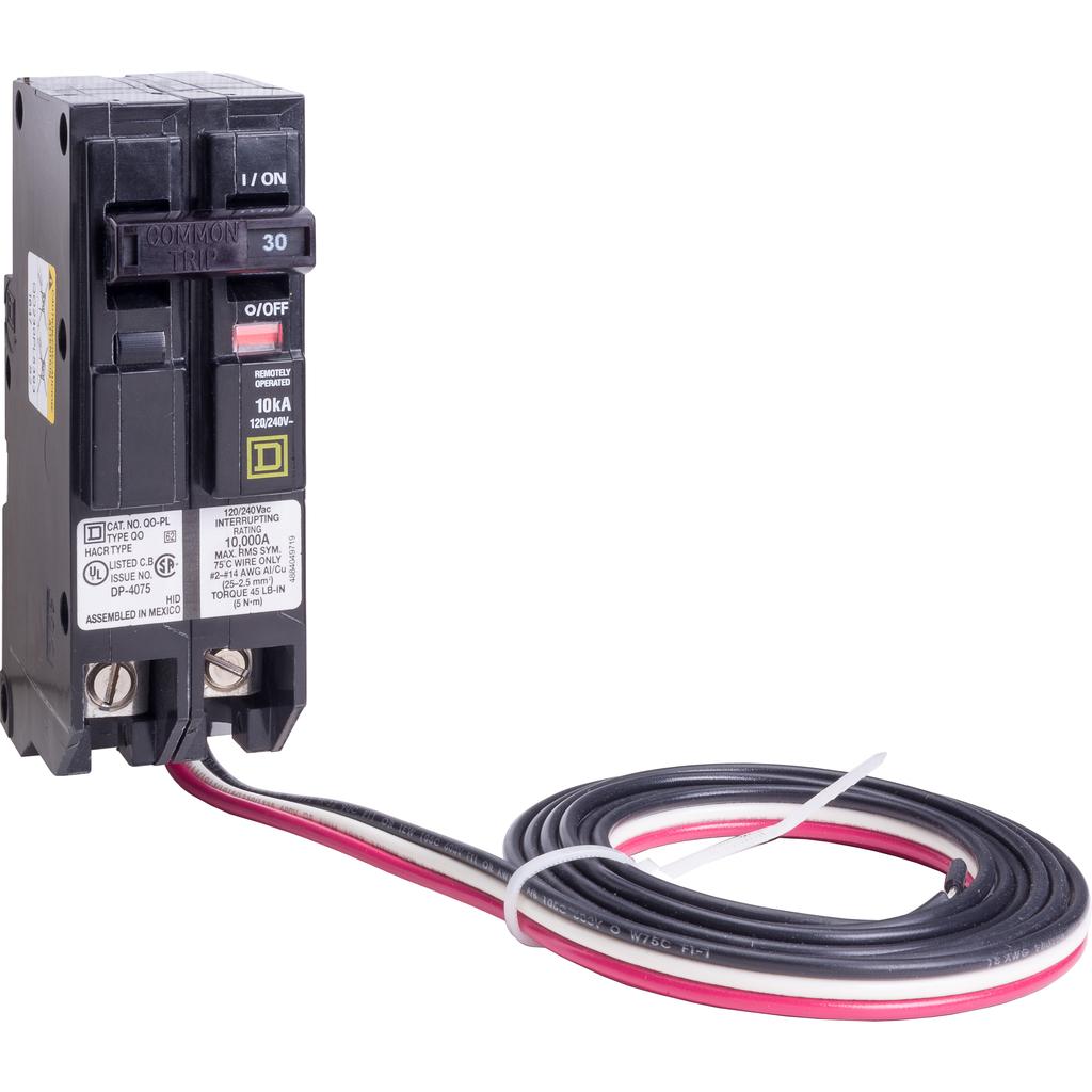 Mayer-Mini circuit breaker, QO, 30A, 2 pole, 120/240 VAC, 10 kA, Powerlink, plug in mount, 60 in leads-1