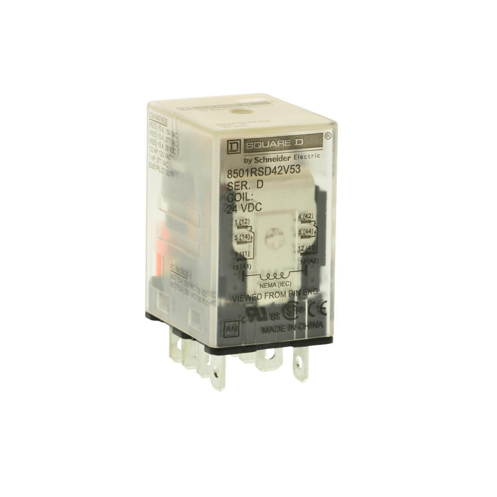 Mayer-Plug in relay, Type R, miniature, 1 HP at 277 VAC, 15A resistive at 120 VAC, 14 blade, 4PDT, 4 NO, 4 NC, 24 VDC coil-1