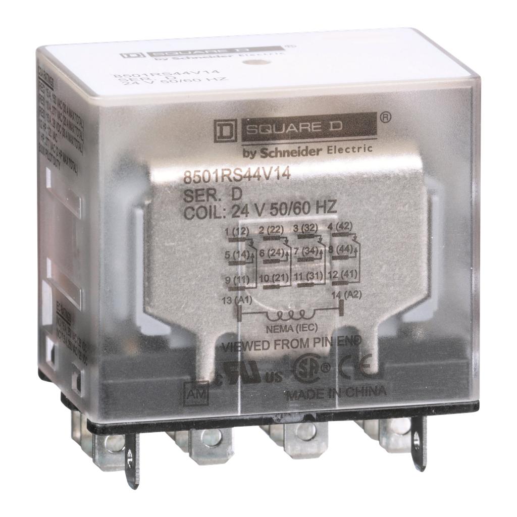 Mayer-Plug in relay, Type R, miniature, 1 HP at 277 VAC, 15A resistive at 120 VAC, 14 blade, 4PDT, 4 NO, 4 NC, 24 VAC coil-1