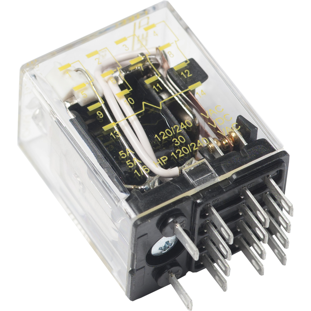 Mayer-Plug in relay, Type R, miniature, 0.5 HP at 277 VAC, 8A resistive at 120 VAC, 14 blade, 4PDT, 4 NO, 4 NC, 24 VDC coil-1