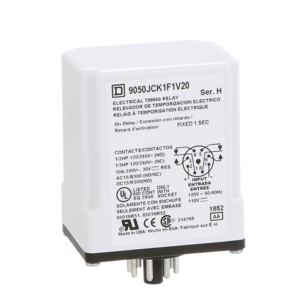 Mayer-Plug In Timer, on delay, 1 second fixed, 120 VAC 110 VDC-1