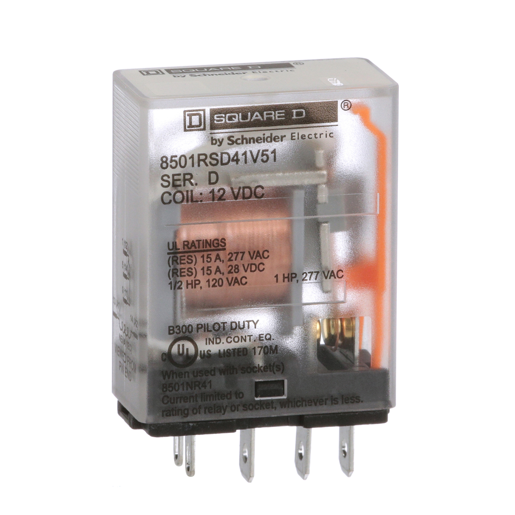 Mayer-Plug in relay, Type R, miniature, 1 HP at 277 VAC, 15A resistive at 120 VAC, 5 blade, SPDT, 1 NO, 1 NC, 12 VDC coil-1