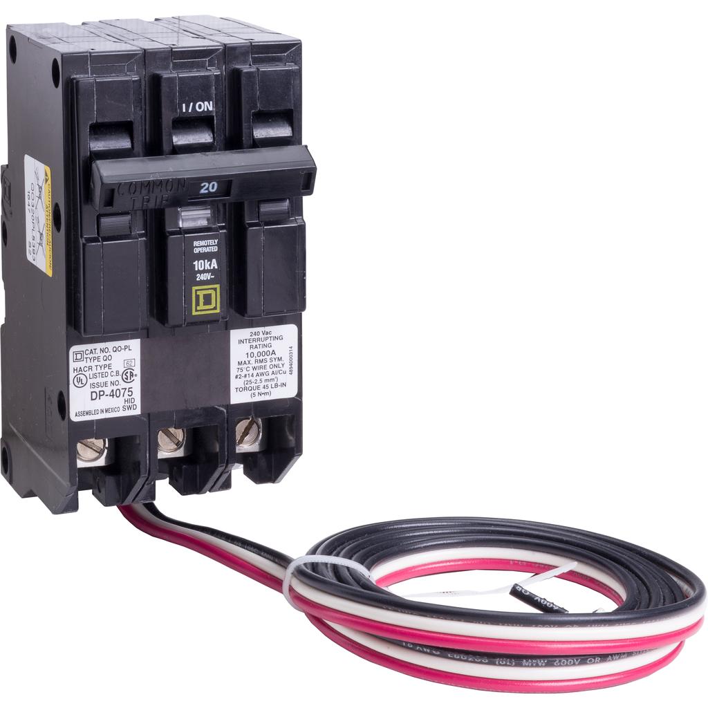 Mayer-Mini circuit breaker, QO, 20A, 3 pole, 240 VAC, 10 kA, Powerlink, plug in mount, 60 in leads-1