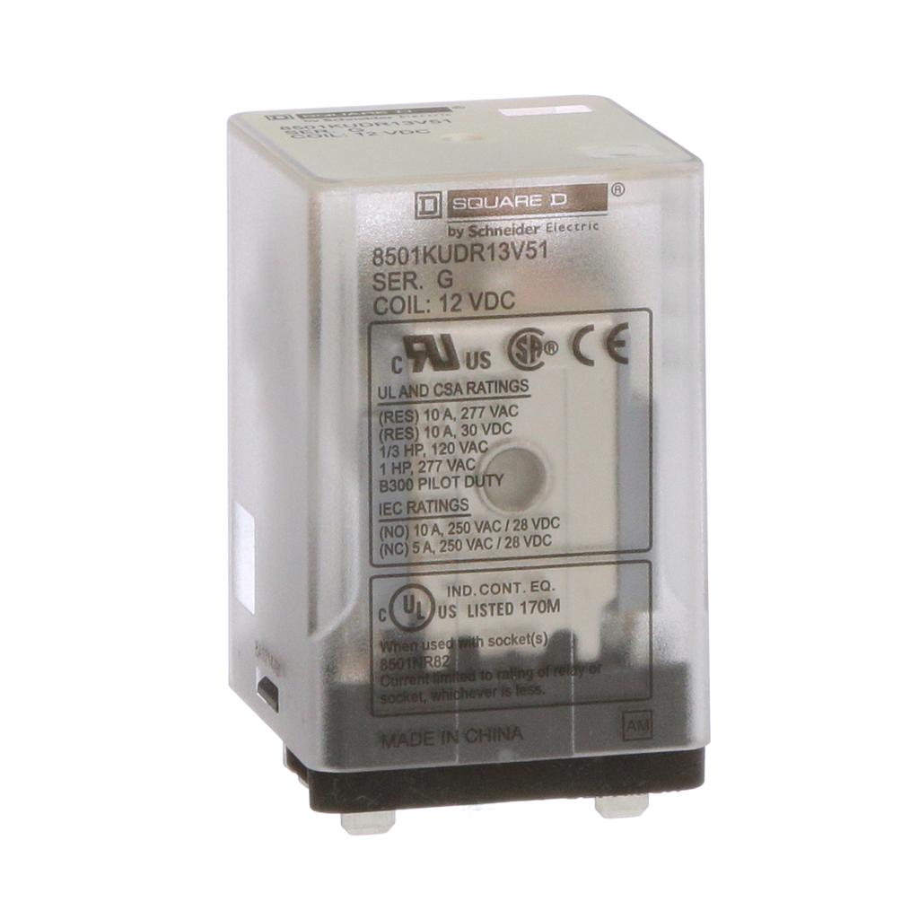 Mayer-Plug in relay, Type KU, blade, 0.5 HP at 240 VAC, 10A resistive at 120 VAC, 11 blade, 3PDT, 3 NO, 3 NC, 12 VDC coil-1