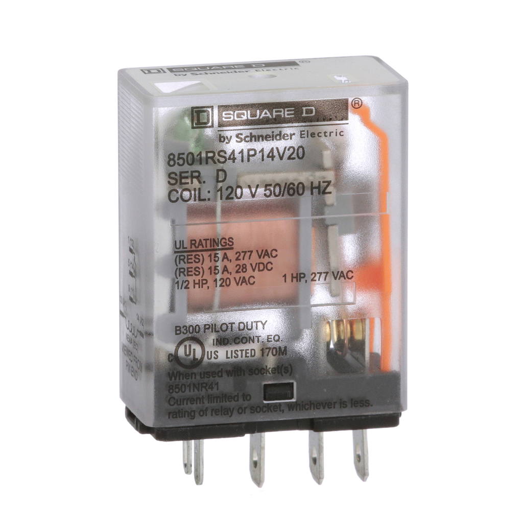 Mayer-Plug in relay, Type R, miniature, 1 HP at 277 VAC, 15A resistive at 120 VAC, 5 blade, SPDT, 1 NO, 1 NC, 120 VAC coil-1