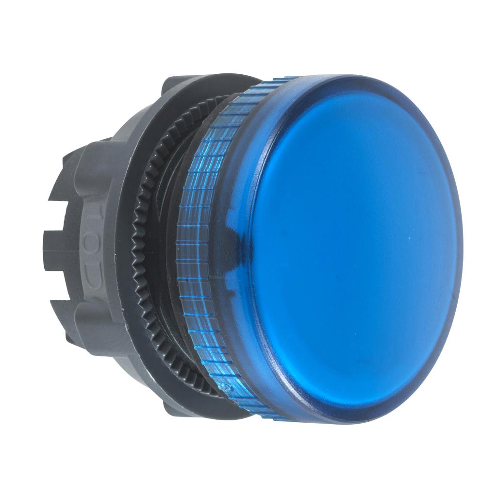 Mayer-Pilot light head, metal, blue, Ø22, plain lens for integral LED-1