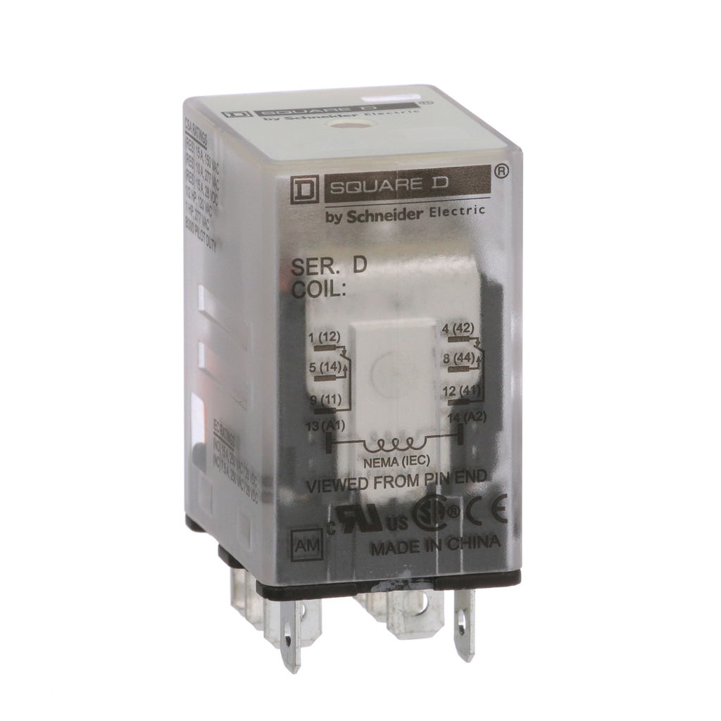 Mayer-Plug in relay, Type R, miniature, 1 HP at 277 VAC, 15A resistive at 120 VAC, 8 blade, DPDT, 2 NO, 2 NC, 24 VDC coil-1