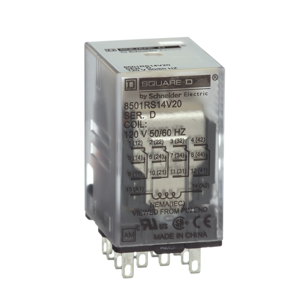 Mayer-Plug in relay, Type R, miniature, 0.5 HP at 277 VAC, 8A resistive at 120 VAC, 14 blade, 4PDT, 4 NO, 4 NC, 12 VAC coil-1