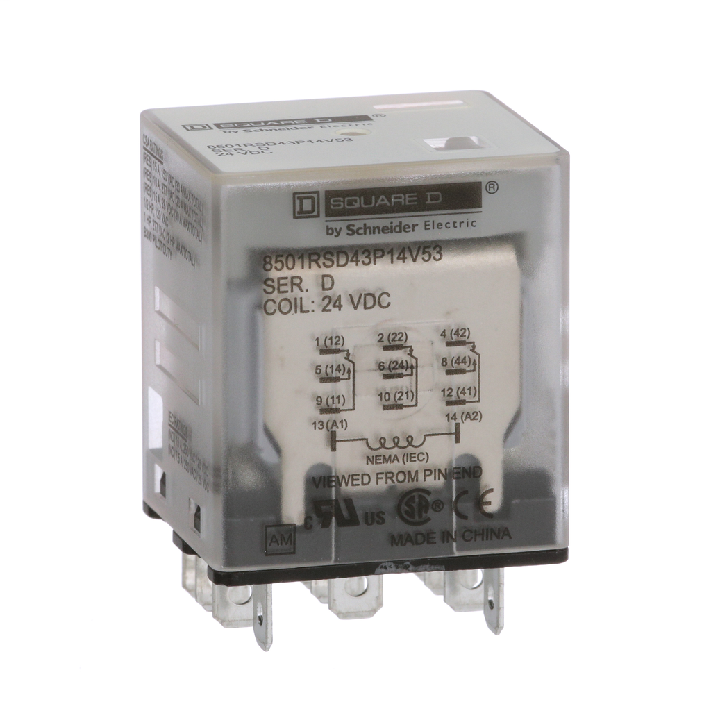 Mayer-Plug in relay, Type R, miniature, 1 HP at 277 VAC, 15A resistive at 120 VAC, 11 blade, 3PDT, 3 NO, 3 NC, 24 VDC coil-1