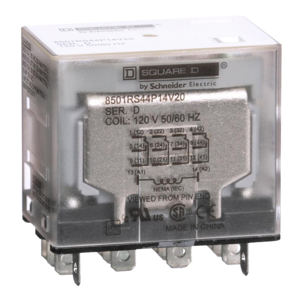 Mayer-Plug in relay, Type R, miniature, 1 HP at 277 VAC, 15A resistive at 120 VAC, 14 blade, 4PDT, 4 NO, 4 NC, 120 VAC coil-1