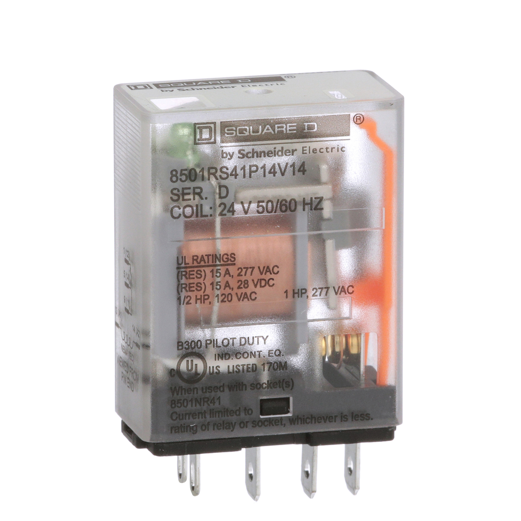 Mayer-Plug in relay, Type R, miniature, 1 HP at 277 VAC, 15A resistive at 120 VAC, 5 blade, SPDT, 1 NO, 1 NC, 24 VAC coil-1