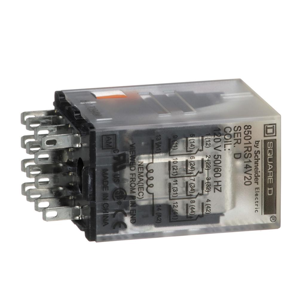 Mayer-Plug in relay, Type R, miniature, 0.5 HP at 277 VAC, 8A resistive at 120 VAC, 14 blade, 4PDT, 4 NO, 4 NC, 120 VAC coil-1