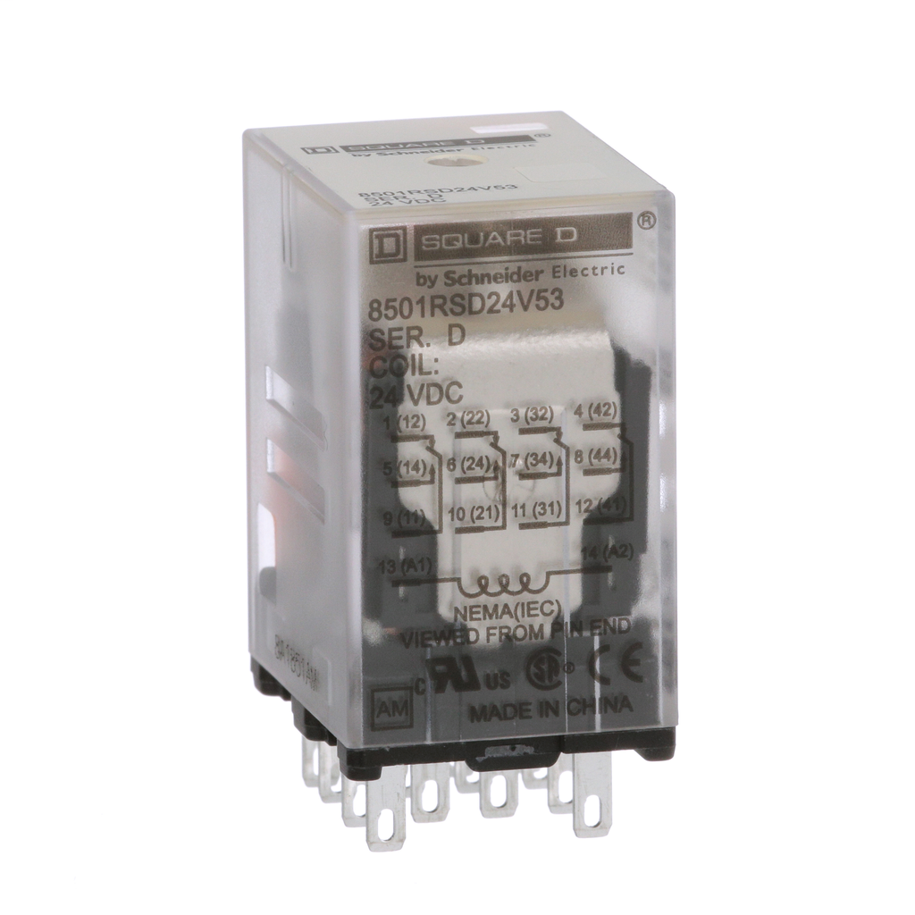 Mayer-Plug in relay, Type R, miniature, 0.167 HP at 120 VAC, 3A resistive at 277 VAC, 14 blade, 4PDT, 4 NO, 4 NC, 24 VDC coil-1