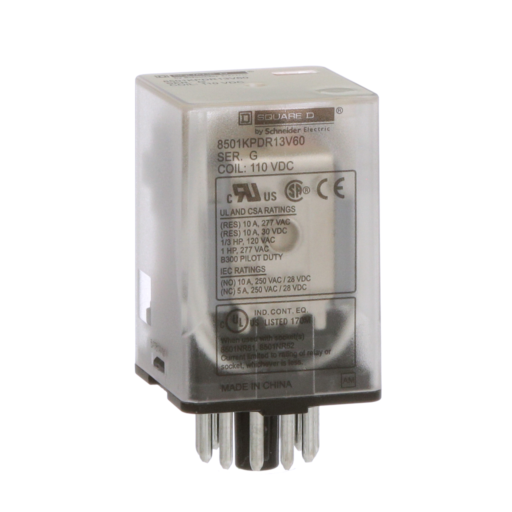 Mayer-Plug in relay, Type KP, tubular, 1 HP at 277 VAC, 10A resistive at 120 VAC, 11 pin, 3PDT, 3 NO, 3 NC, 110 VDC coil-1