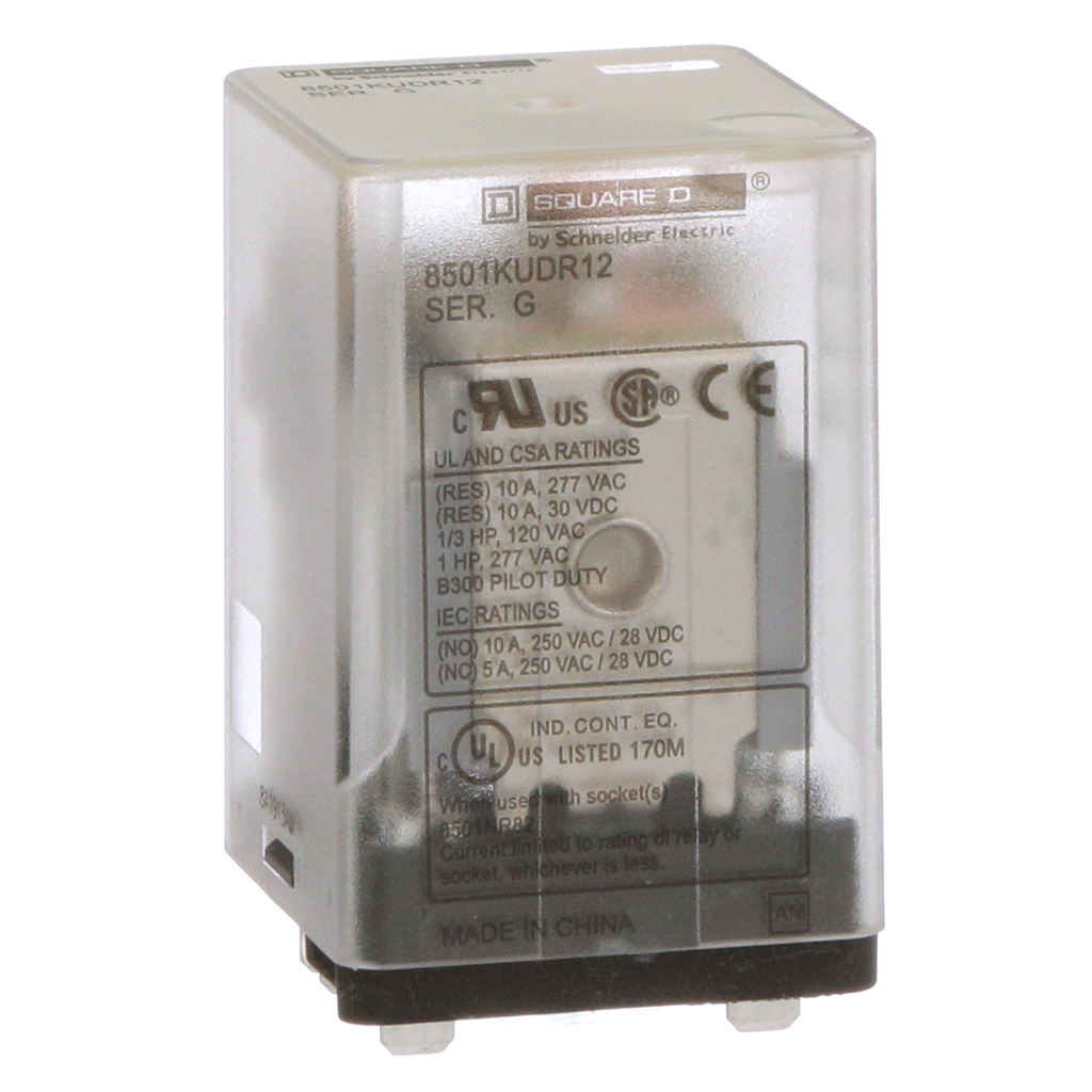 Mayer-Plug in relay, Type KU, blade, 0.5 HP at 240 VAC, 10A resistive at 120 VAC, 8 blade, DPDT, 2 NO, 2 NC, 110 VDC coil-1