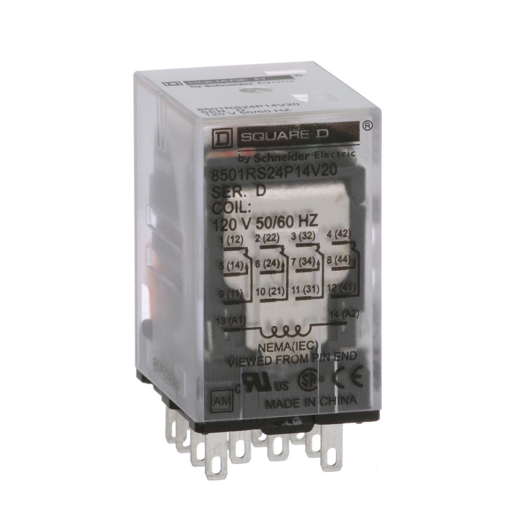 Mayer-Plug in relay, Type R, miniature, 0.167 HP at 120 VAC, 3A resistive at 277 VAC, 14 blade, 4PDT, 4 NO, 4 NC, 120 VAC coil-1