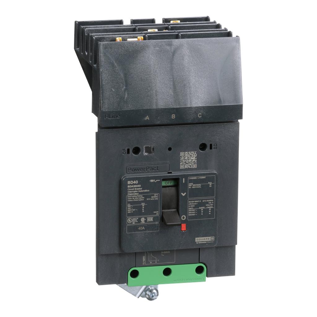 Mayer-PowerPact B Circuit Breaker, 40A, 3P, 600Y/347V AC, 14kA at 600Y/347 UL, I-Line-1