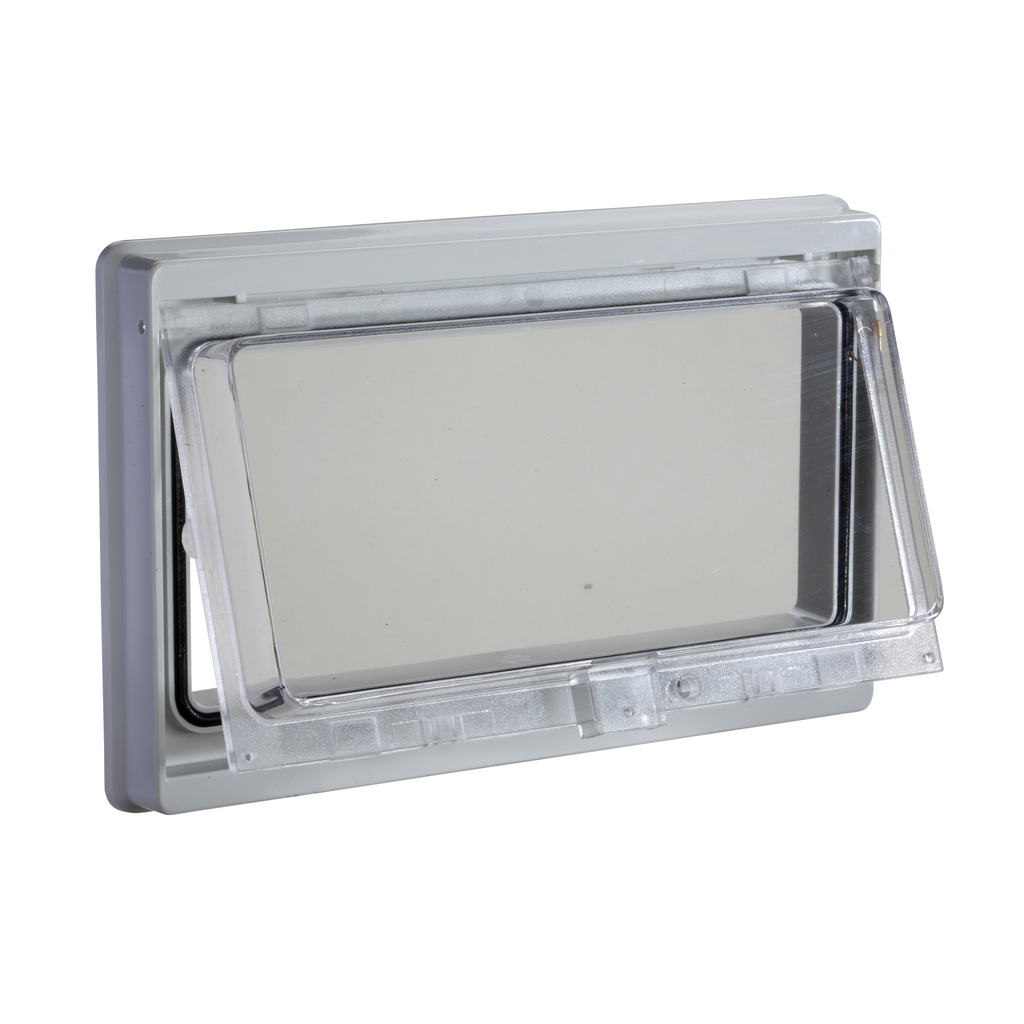 Mayer-Plastic window with hinged transparent cover. IP 55, L78xW180mm.-1