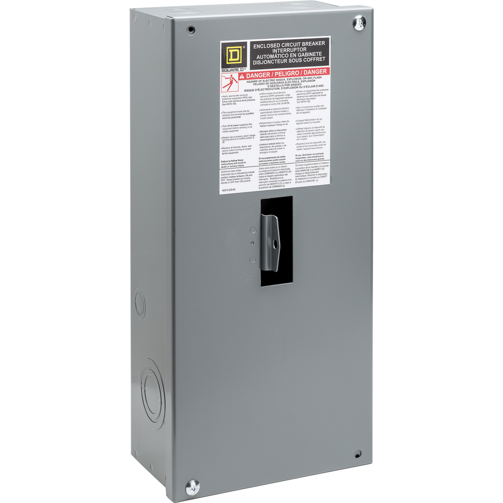 Square D HD100S 7.9 x 4.75 x 17 Inch NEMA 1 Steel Circuit Breaker Enclosure