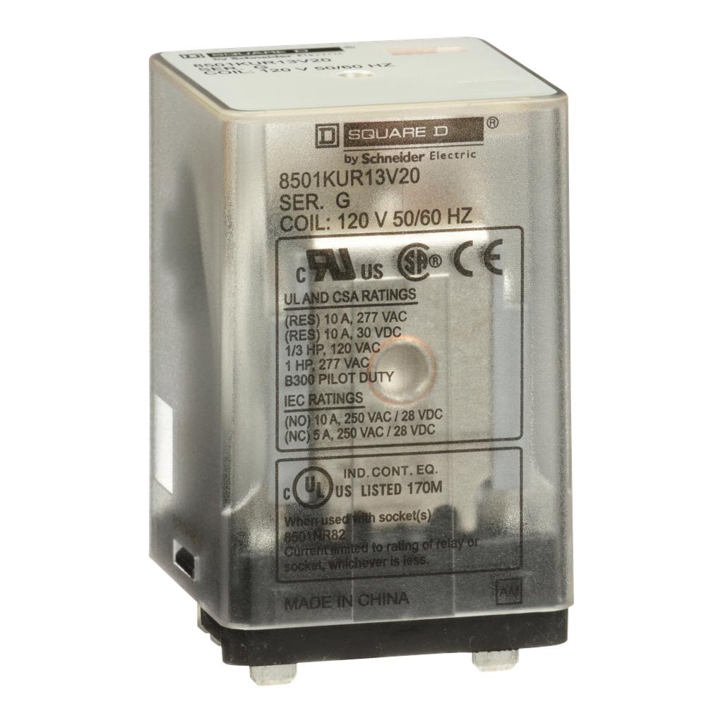 Mayer-Plug in relay, Type KU, blade, 0.5 HP at 240 VAC, 10A resistive at 120 VAC, 11 blade, 3PDT, 3 NO, 3 NC, 120 VAC coil-1