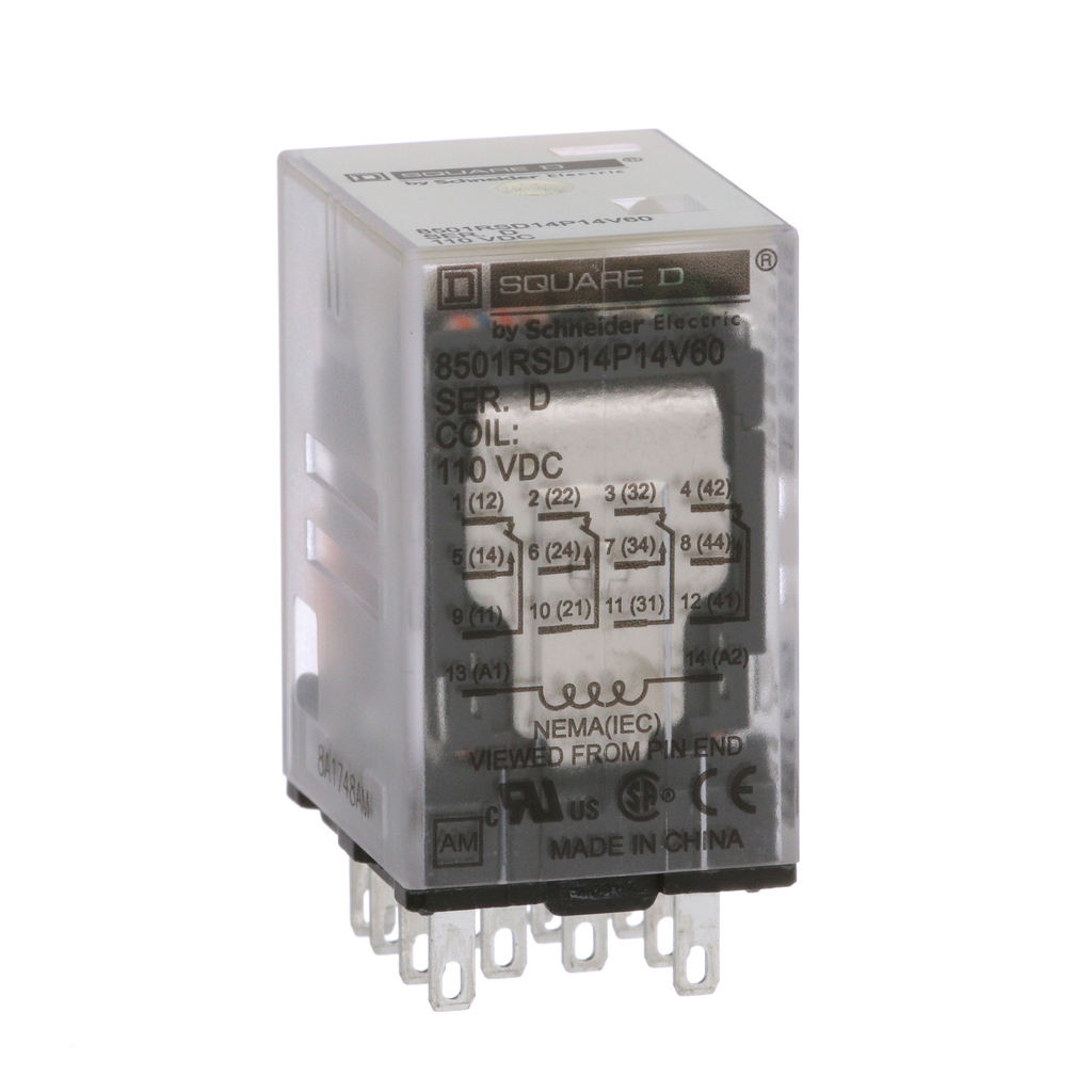 Mayer-Plug in relay, Type R, miniature, 0.5 HP at 277 VAC, 8A resistive at 120 VAC, 14 blade, 4PDT, 4 NO, 4 NC, 110 VDC coil-1