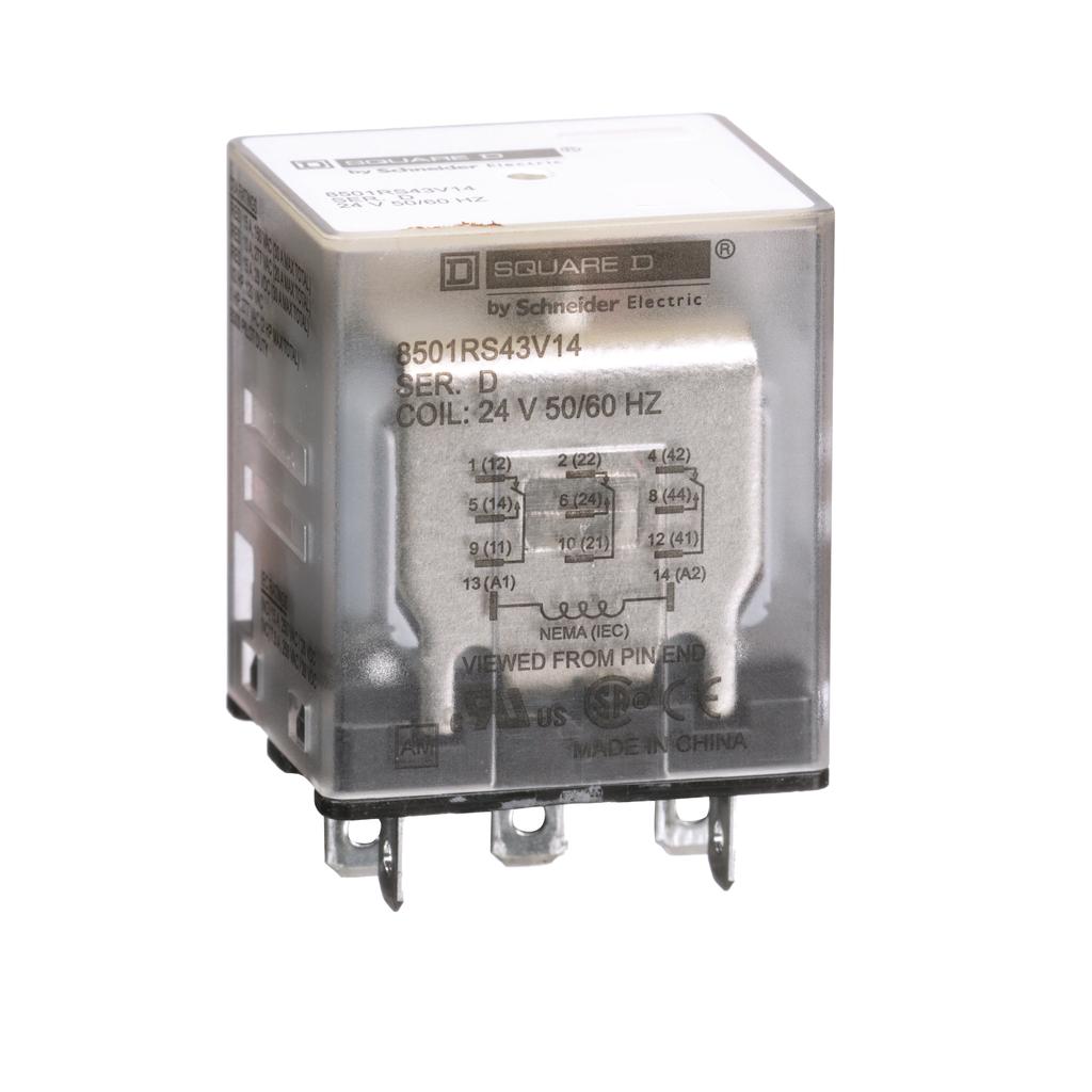 Mayer-Plug in relay, Type R, miniature, 1 HP at 277 VAC, 15A resistive at 120 VAC, 11 blade, 3PDT, 3 NO, 3 NC, 24 VAC coil-1