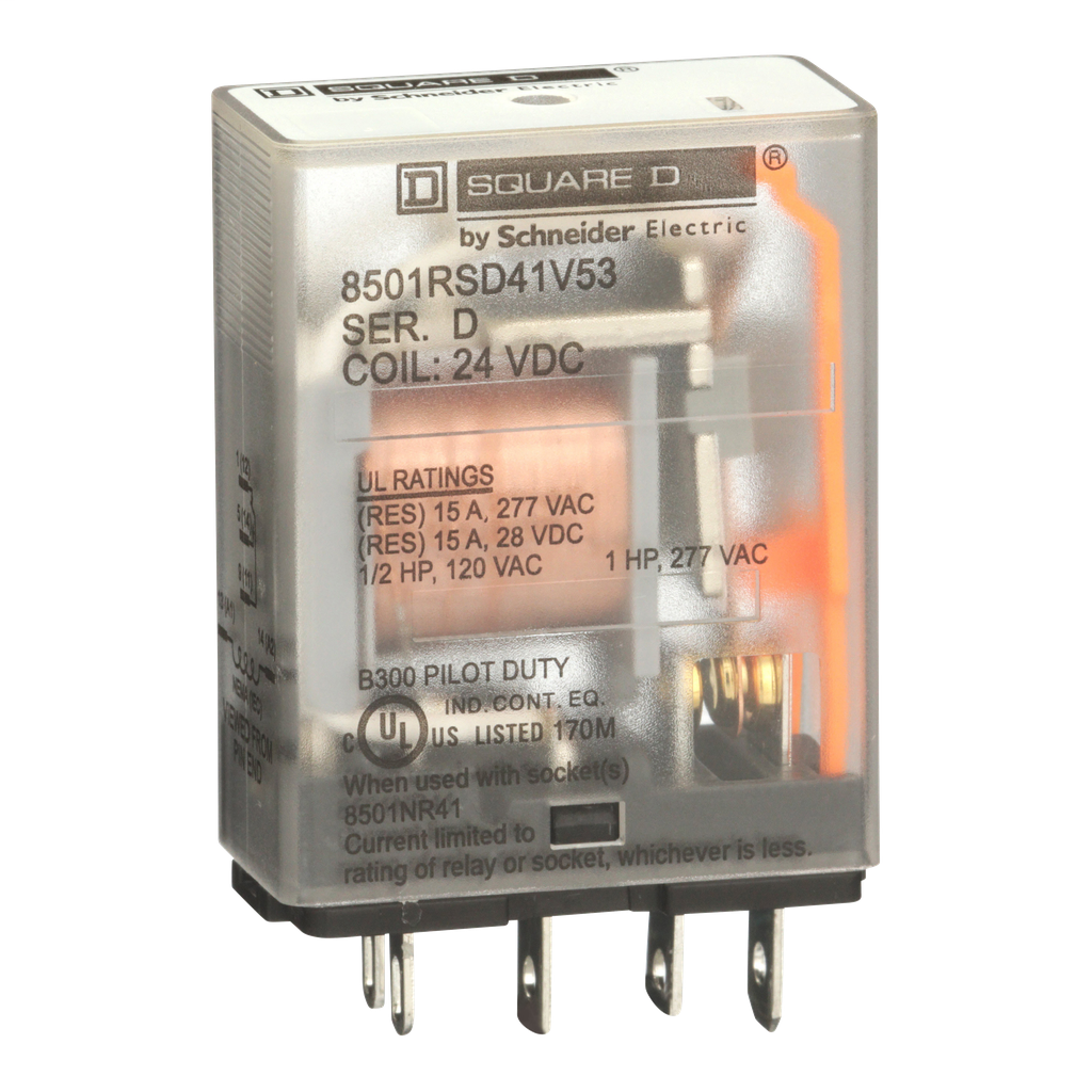Mayer-Plug in relay, Type R, miniature, 1 HP at 277 VAC, 15A resistive at 120 VAC, 5 blade, SPDT, 1 NO, 1 NC, 24 VDC coil-1