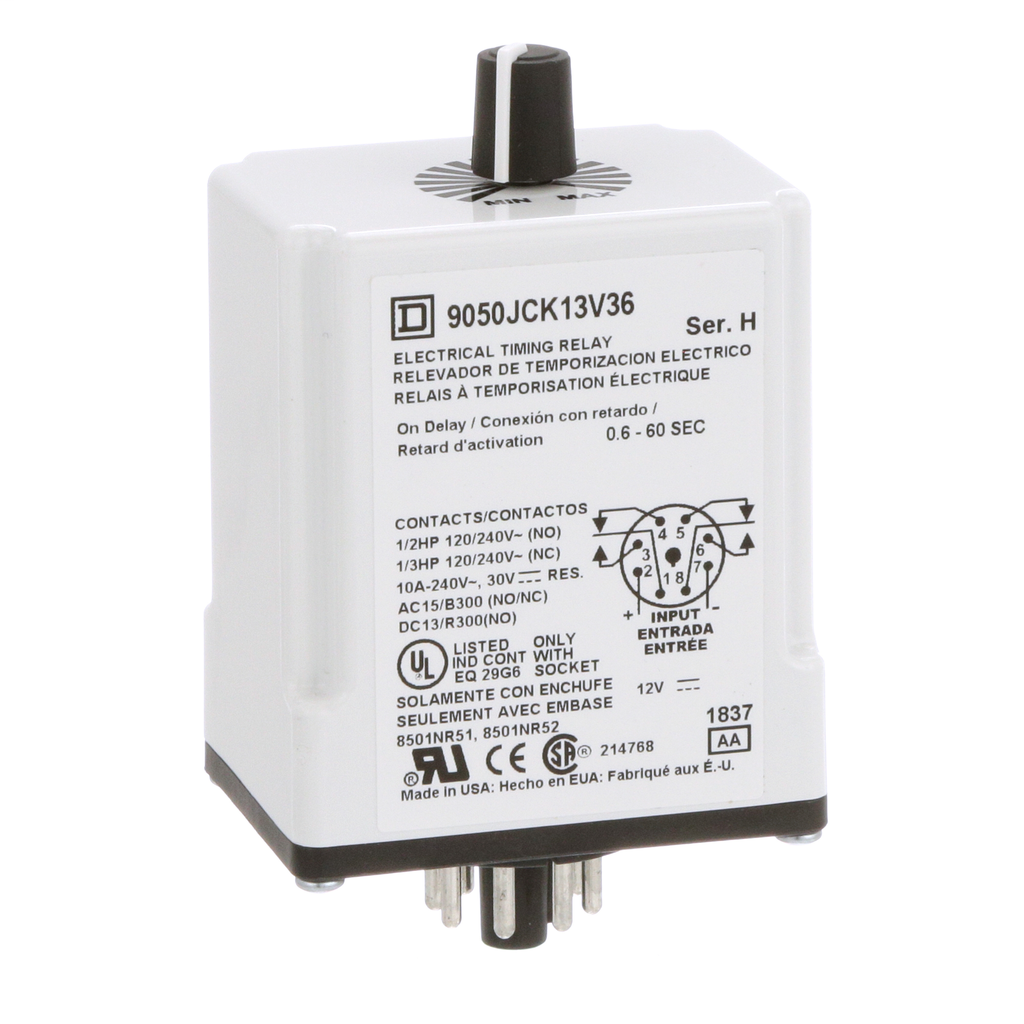 Mayer-Plug In Timer, on delay, 0.6 to 60 seconds, 12 VAC/DC-1
