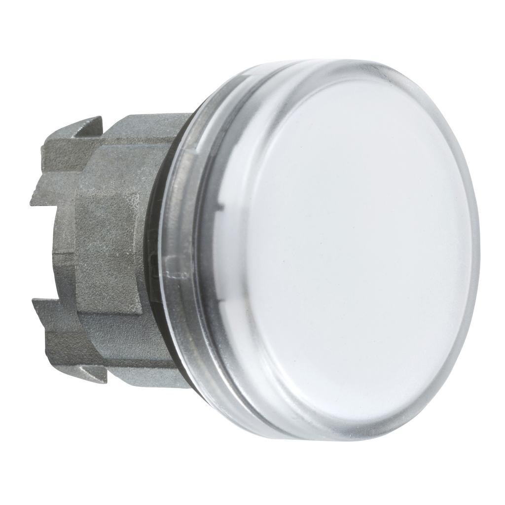 Mayer-Pilot light head, metal, white, Ø22, plain lens for integral LED-1