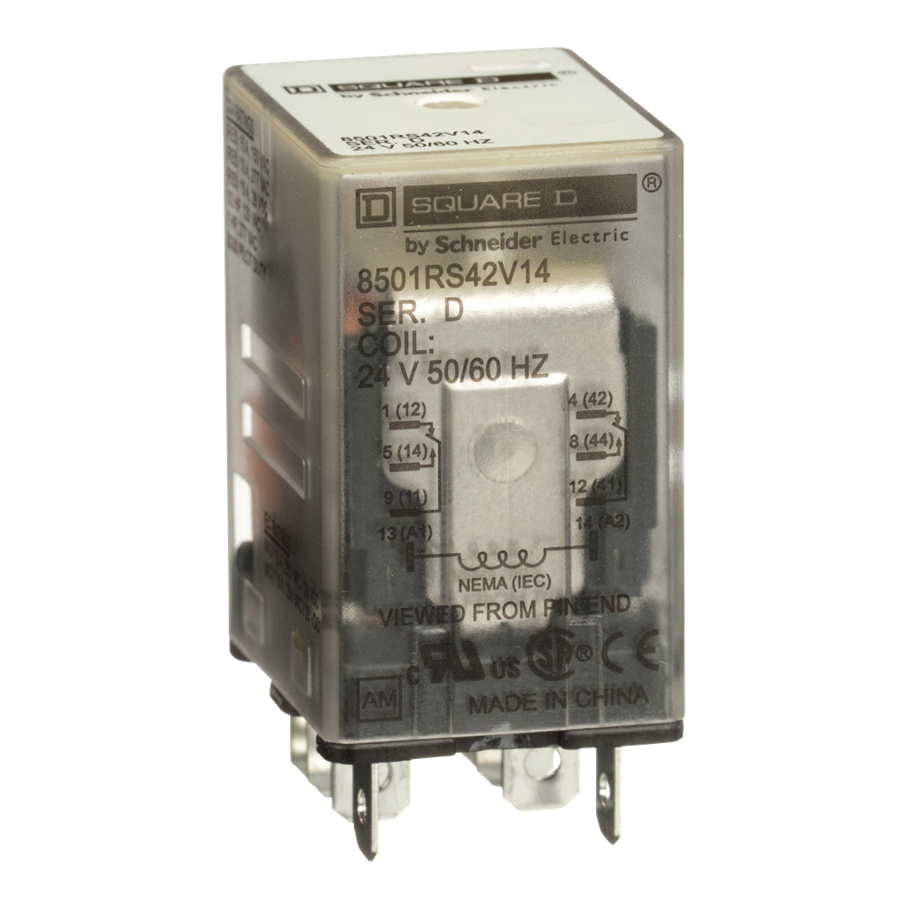 Mayer-Plug in relay, Type R, miniature, 1 HP at 277 VAC, 15A resistive at 120 VAC, 8 blade, DPDT, 2 NO, 2 NC, 24 VAC coil-1