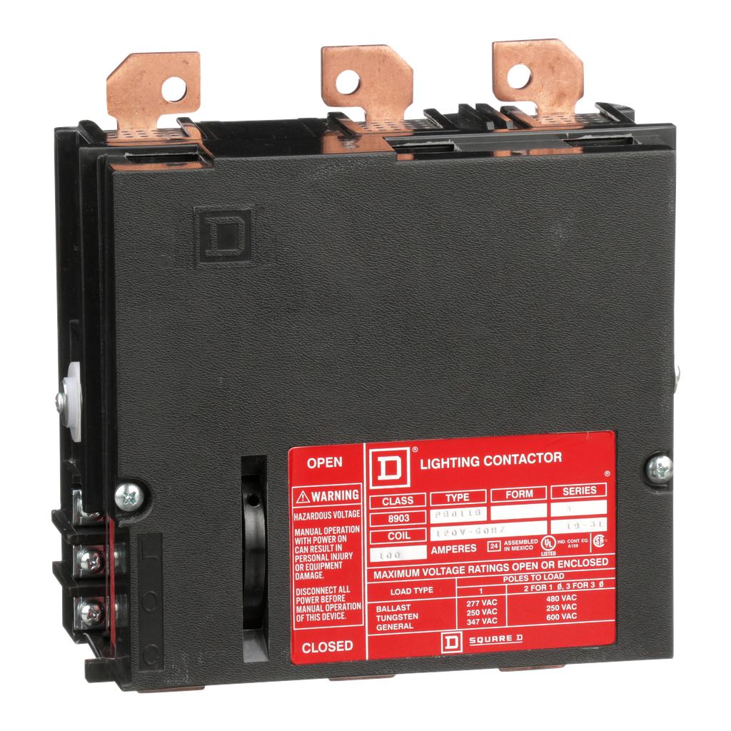 Mayer-Panelboard lighting contactor, 100 AMP, 3 pole, bus mount, 120V 60Hz coil-1