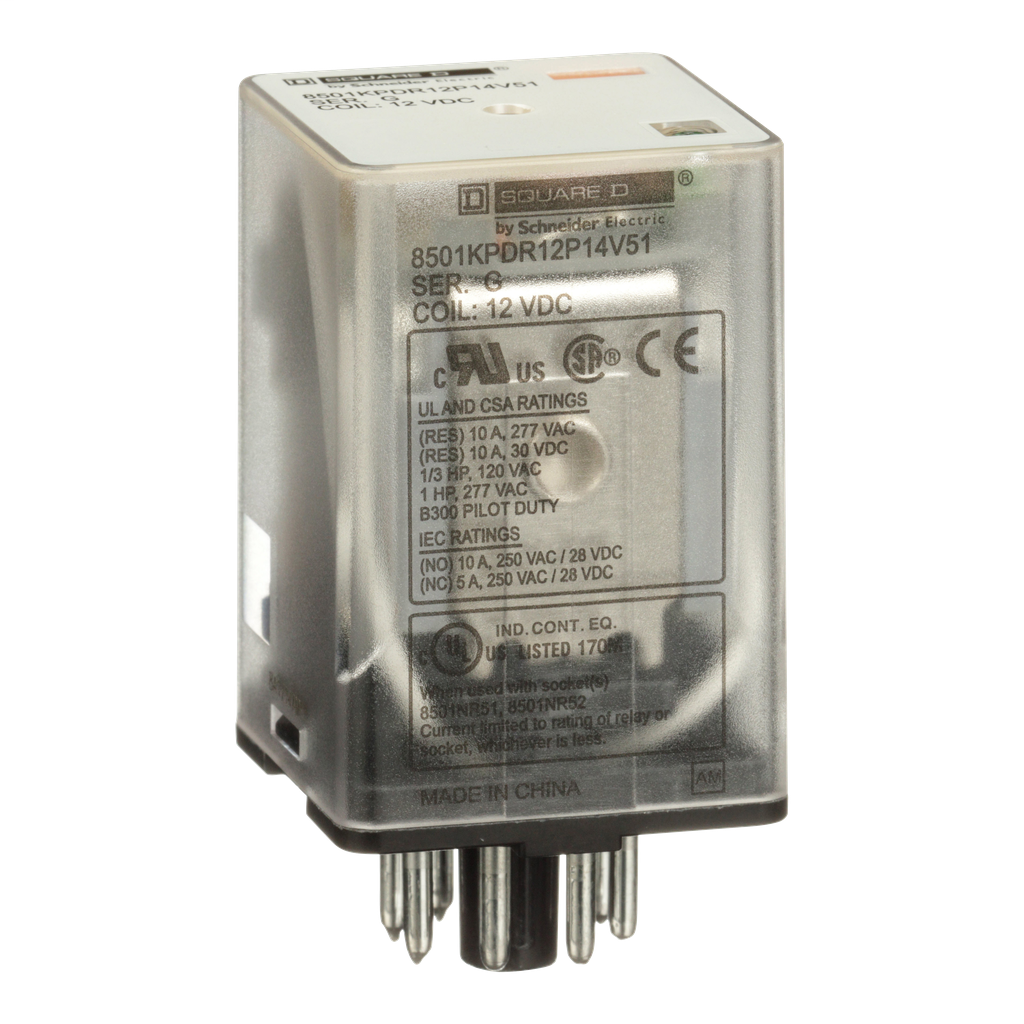 Mayer-Plug in relay, Type KP, tubular, 1 HP at 277 VAC, 10A resistive at 120 VAC, 8 pin, DPDT, 2 NO, 2 NC, 12 VDC coil, light-1