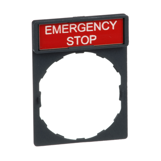 Mayer-Harmony, 22mm Push Button, legend holder 30 x 40 mm, with legend 8 x 27 mm, marked EMERGENCY STOP-1