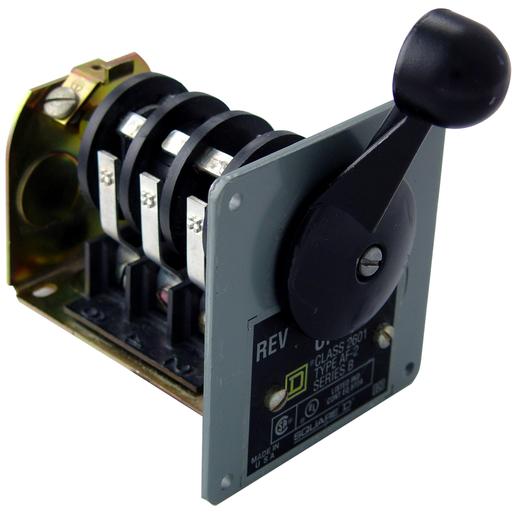 Mayer-Switch, reversing drum, 2 HP at 230 VAC single phase, 2 HP at 575 VAC polyphase, handle operated, NEMA 13 flush-1