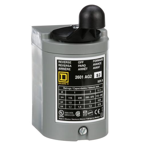 Mayer-Switch, reversing drum, 2 HP at 230 VAC single phase, 2 HP at 575 VAC polyphase, handle operated, NEMA 1 enclosure-1
