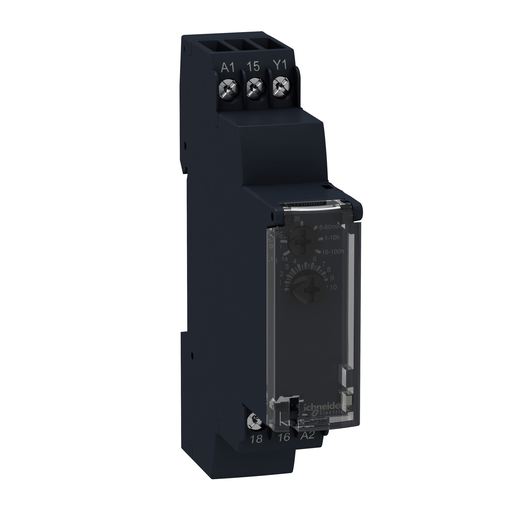 Mayer-Modular timing relay, 0.7 A, 1 CO, 1 s..100 h, on delay, solid state output, 24..240 V AC/DC-1