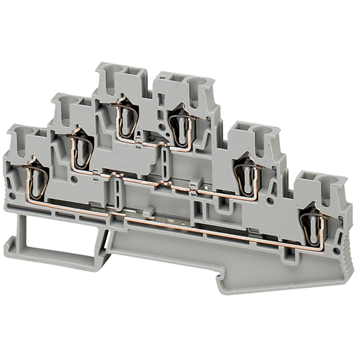 Mayer-SPRING TERMINAL, FEED THROUGH, 3 LEVELS CONNECTED, 6 POINTS, 2,5MM², GREY-1