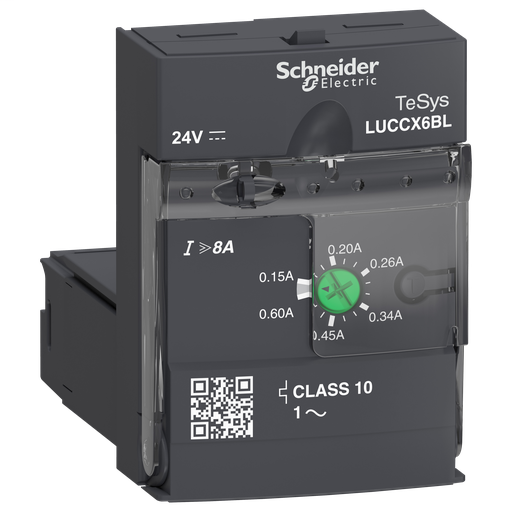 Mayer-Advanced control unit, TeSys U, 0.15-0.6A, 1P motors, protection & diagnostic, class 10, coil 24V DC-1