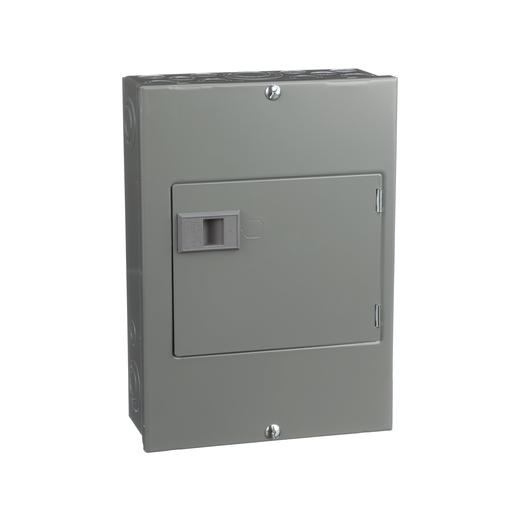 Mayer-Generator panel, QO, 1 phase, 4 spaces, 8 circuits, 60A main breaker with interlock, NEMA1, surface cover door, UL-1