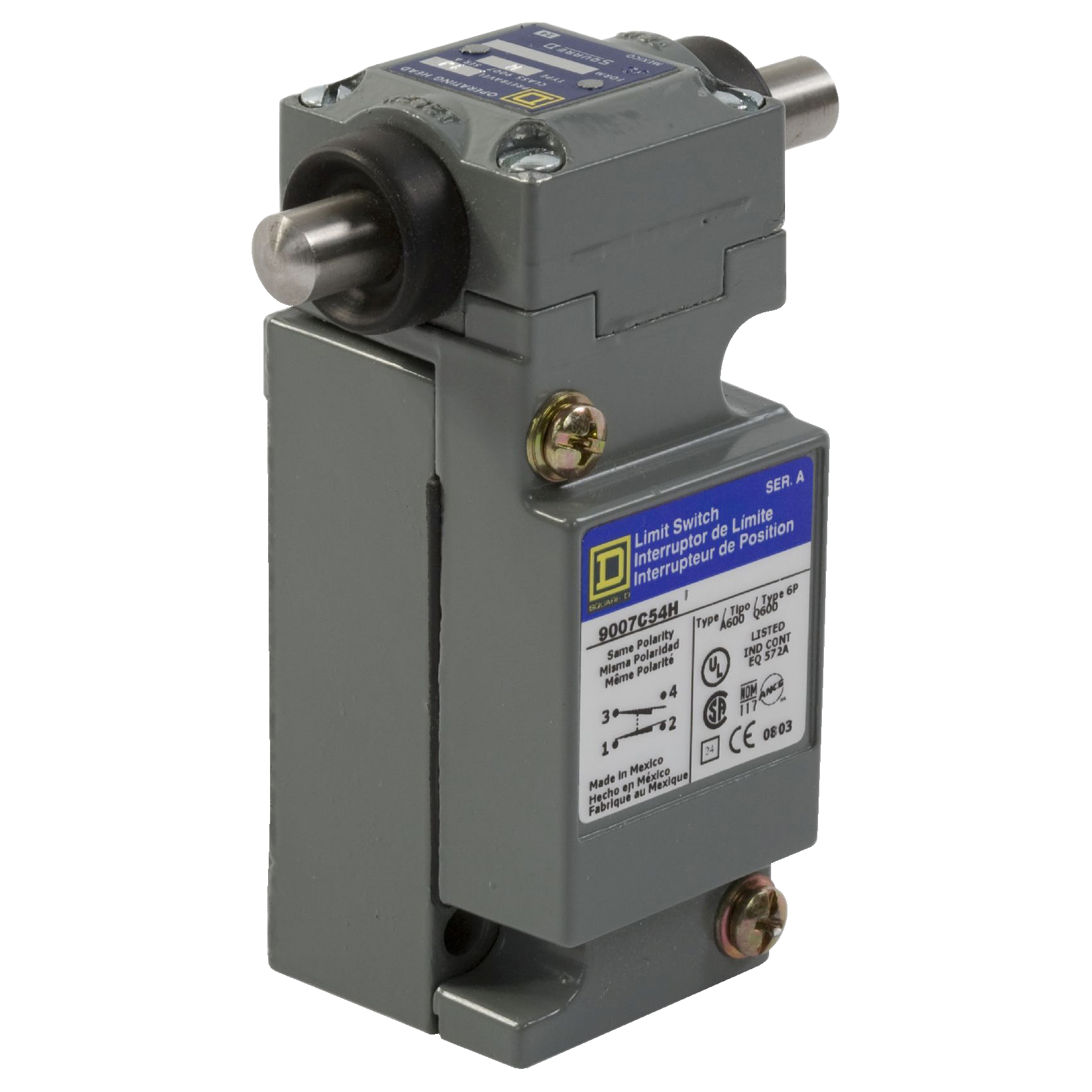 Square D 9007C62H 600 VAC 10 Amp 2NO 2NC Side Plunger Plug-In Heavy Duty Limit Switch