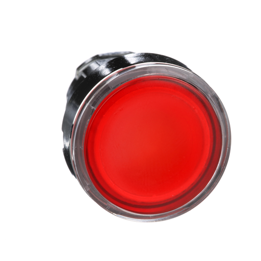 Harmony, 22mm Push Button, illuminated push button head, flush, spring return, red, for integral LED